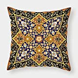 iPrint Satin Throw Pillow Cushion Cover,Arabian,Arabic Islamic Floral Mosaic Patterns South Eastern Antique Orient Ottoman Artwork,Multicolor,Decorative Square Accent Pillow Case