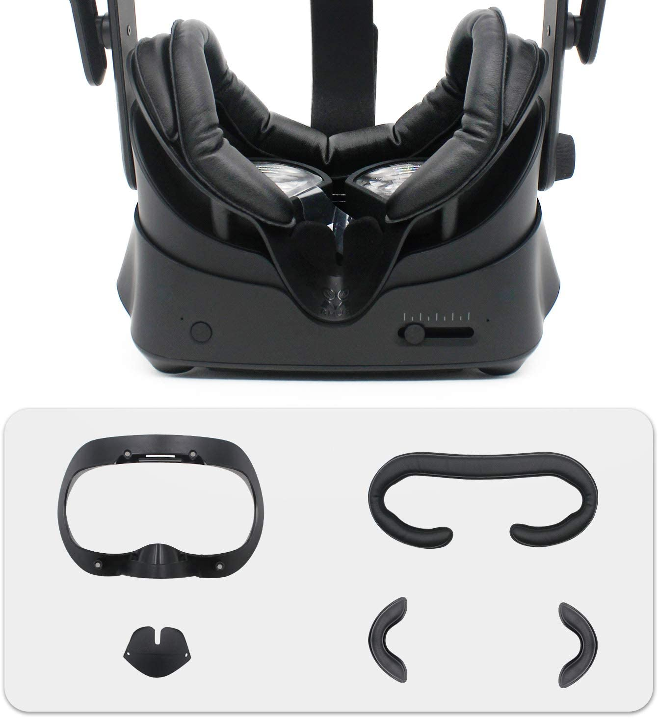 AMVR Facial Interface Bracket & PU Leather Foam Face Cover Pad Replacement & Anti-Leakage Nose Pad & Protective Lens Cover Comfort Set for Valve Index Headset