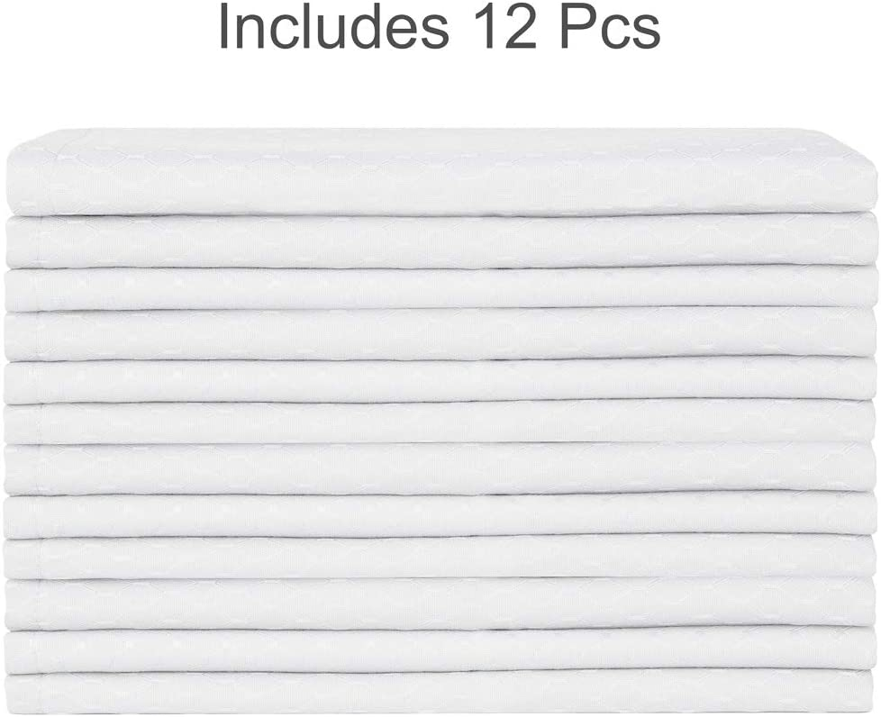 Eforcurtain Elegant Party Supplies Dinner Napkins Waffle Weave Design 17x17 Inches White, Set of 12 Pieces Plain Square Polyester Table Napkins Stain Resistant Oil Proof