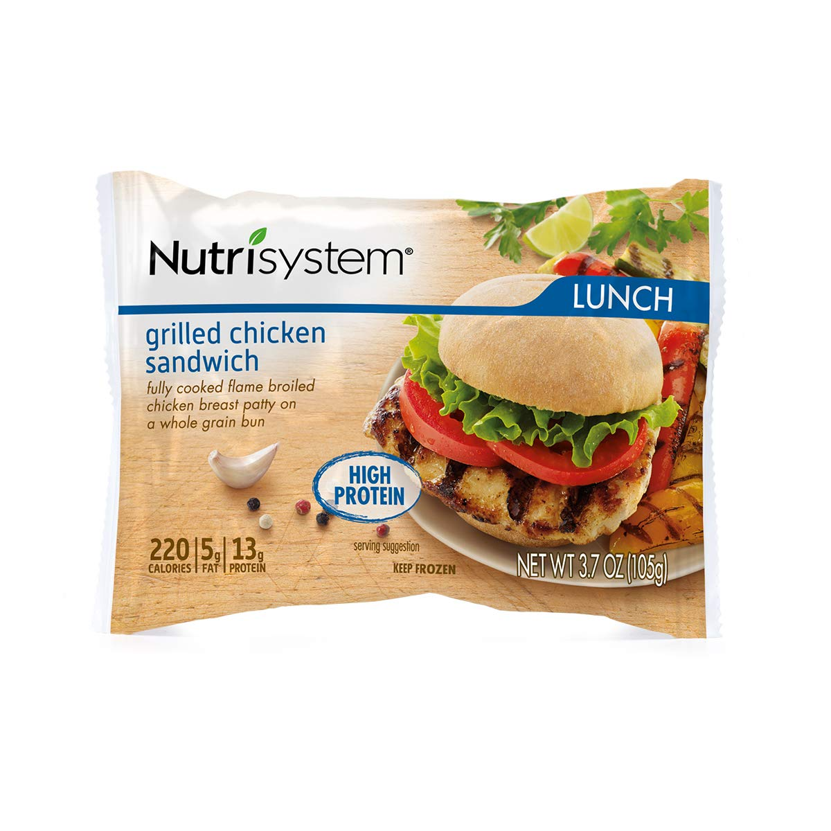 Nutrisystem® Grilled Chicken Sandwich, 12ct. Frozen Sandwiches on Whole-Wheat Rolls to Support Healthy Weight Loss