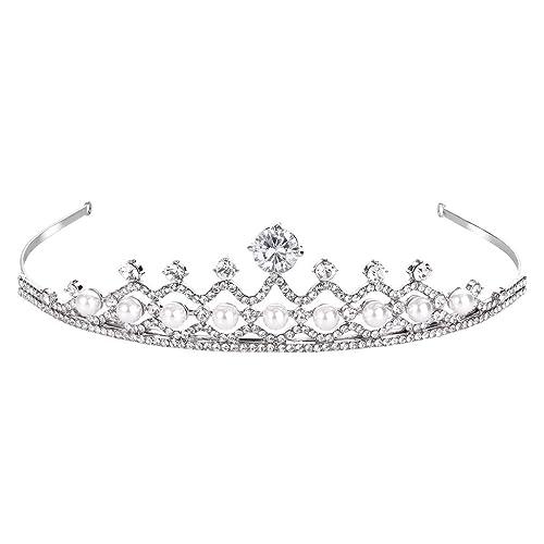 FANZE Mujer cristal austríaco crema simulado perla impresionante magnífico nupcial princesa corona t...