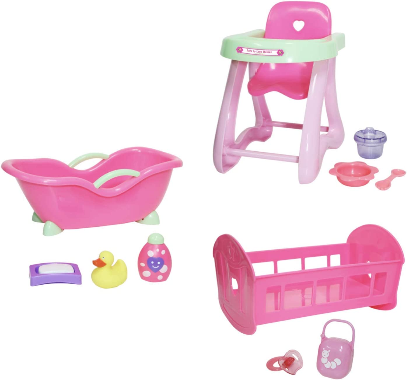 "JC Toys Deluxe Doll Accessory Bundle Featuring High Chair, Crib, Bath and Accessories for Dolls up to 11""."