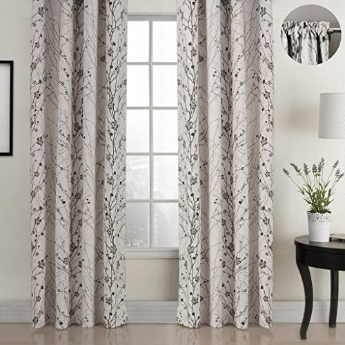 - ChadMade Country Style Plum Blossom Polyester 50Wx63L Inch (1 Panel) Blackout Lined Curtain Drape Rod Pocket with 1
