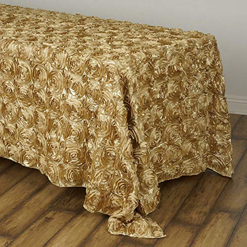 QueenDream Champagne Tablecloth 3D Gold Rosette Table Cloth 90x132 Rectangle Satin Tablecloth 3D Tablecloth for Weddings