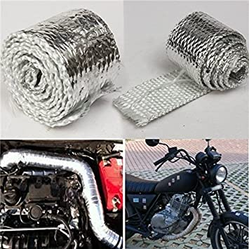 "GRAY 2/""x 1M Performance Exhaust Tape Manifold Downpipe Insulating Heat Wrap"
