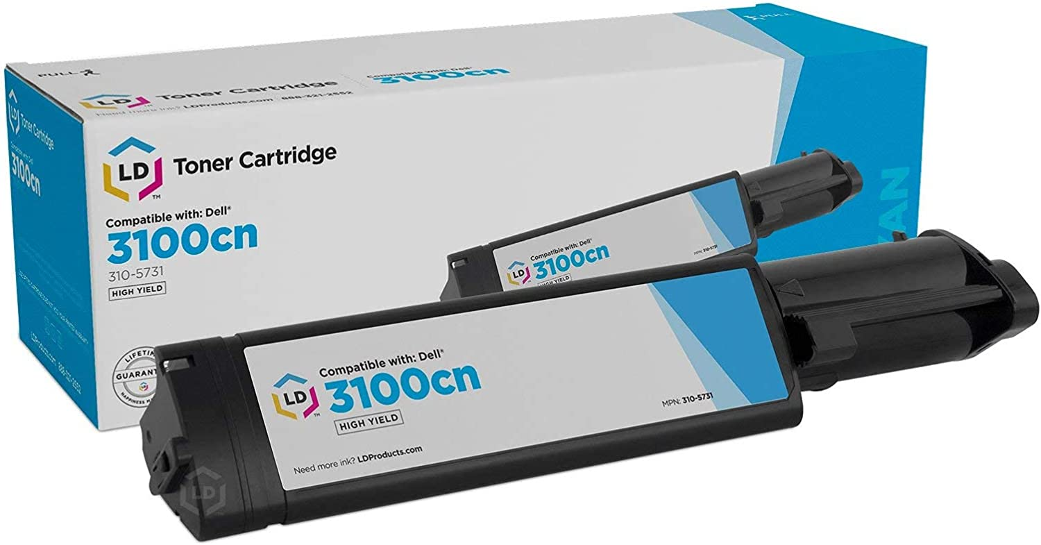 LD Compatible Toner Cartridge Replacement for Dell 3100cn 310-5731 High Yield (Cyan)
