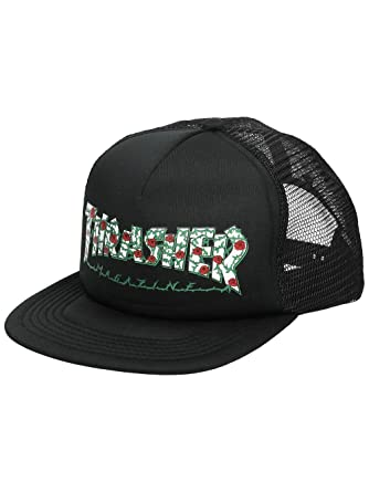 b5415bf409074 Thrasher Magazine Roses Mesh Trucker Hat Black  Thrasher  Amazon.co ...
