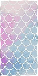 Pfrewn Colorful Mermaid Scale Hand Towels 16x30 in, Rainbow Marble Galaxy Thin Bathroom Towel, Magic Fish Scales Ultra Soft Highly Absorbent Small Bath Towel Bathroom Decor