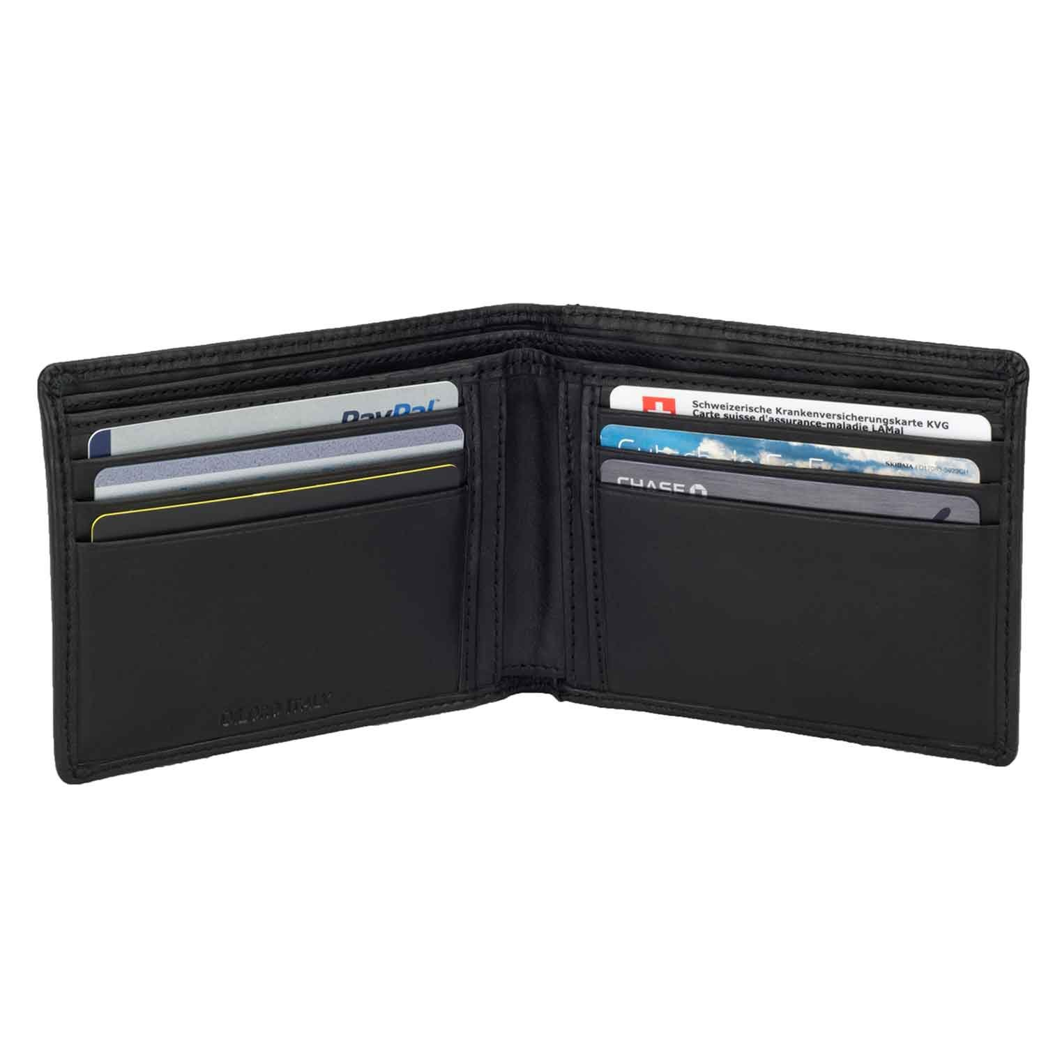 DiLoro Italy Men's Slim Bifold Wallet Black Italian Genuine Full Grain Top Quality Nappa Leather Natural Handmade with Pocket and RFID Blocking 2402-BK
