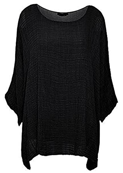 eb8da030af43 New Womens Ladies Cheese Cloth Italian Plain Loose Fit Batwing Cotton  Lagenlook Kimono Sleeve Baggy Top Casual T-Shirt Summer Insert Vest Tops  Plus Size UK ...