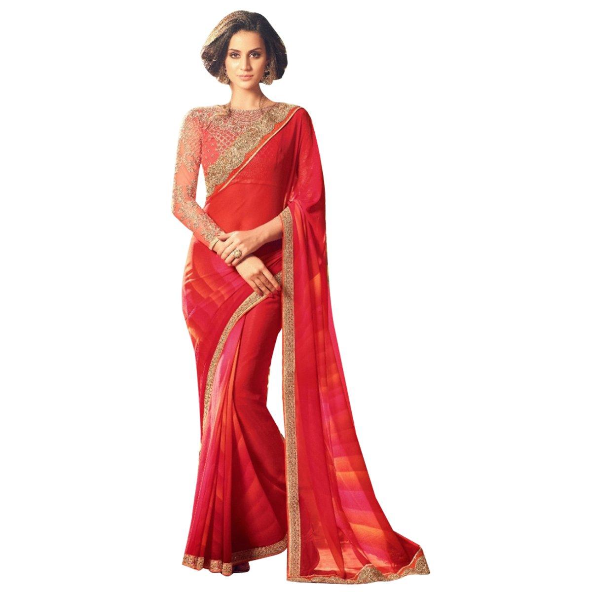 Amazon.com: Bollywood Nueva moda elegante Saree sari con ...