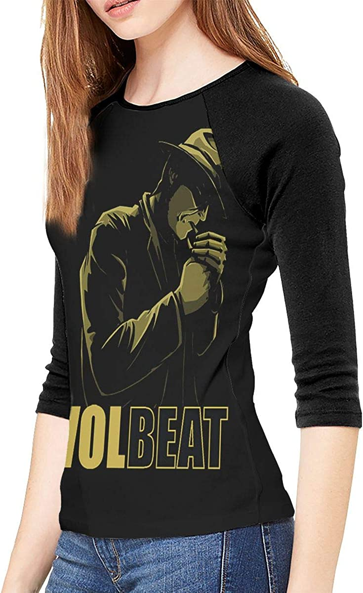 FankTasf Volbeat Female Slim 3//4 Sleeve Casual Fashion Round Neck Top T-Shirt