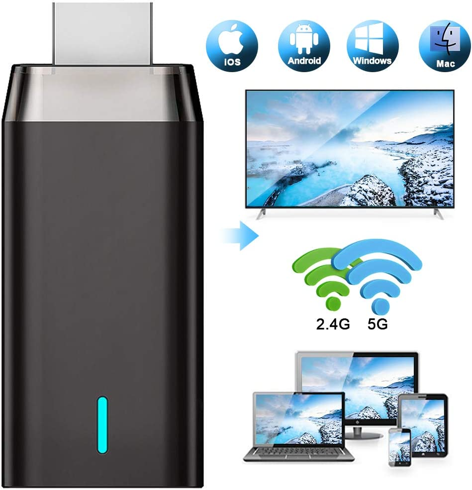 WiFi Display Dongle, Ifmeyasi 5G/2.4G Wireless HDMI Display Adapter Receiver, Screen Mirroring Miracast Dongle from Android/iOS Phone/iPad/Mac/Laptop to TV Monitor Projector
