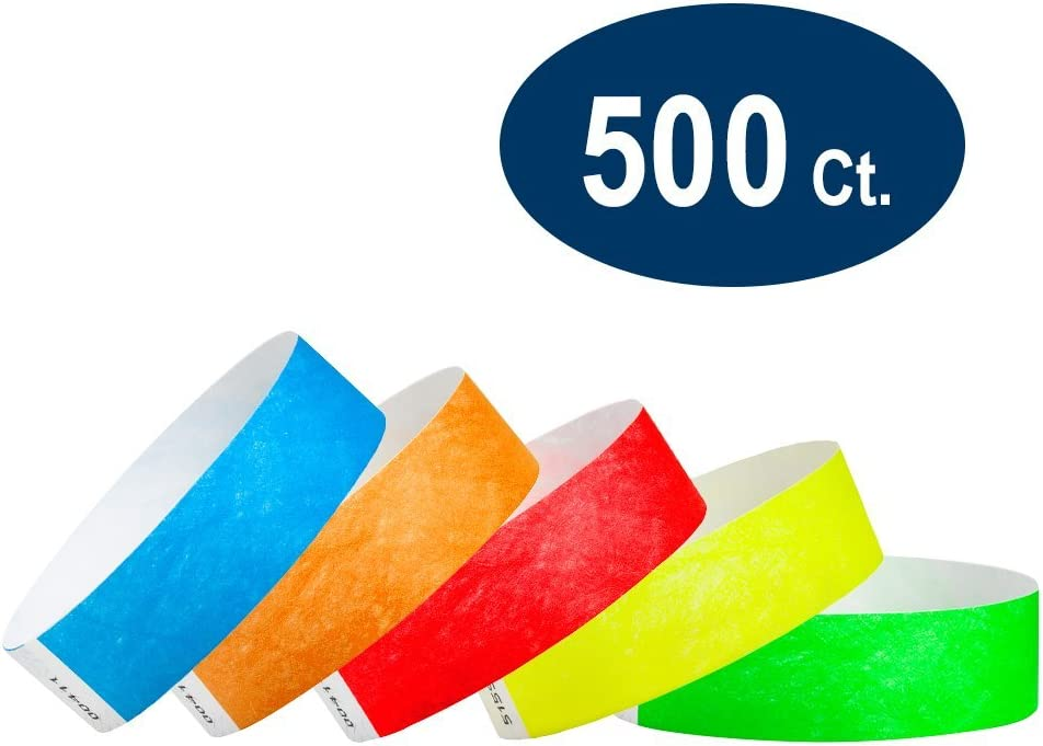 "WristCo Variety Pack 3/4"" Tyvek Wristbands - Red, Orange, Yellow, Green, Blue - 500 Pack Paper Wristbands for Events"