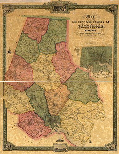 Map Poster - Map of the city and county of Baltimore Maryland. 17
