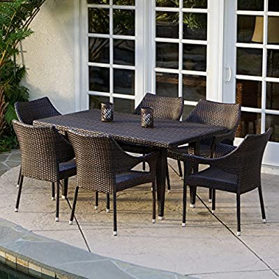 "Christopher Knight Home 235369 Stacking Wicker Chairs 7-Piece Outdoor Dining Set, Brown - Includes: six (6) stacking outdoor wicker dining chairs and one (1) outdoor wicker dining Table Materials: PE wicker, Iron Color: Multi-brown Table: 59"" L x 35. 50"" W x 29"" H, Chair: 24""D x 24""W x 32. 3""H, Seat: 16. 50""H - patio-furniture, dining-sets-patio-funiture, patio - 615mwqsGdUL. SS400  -"