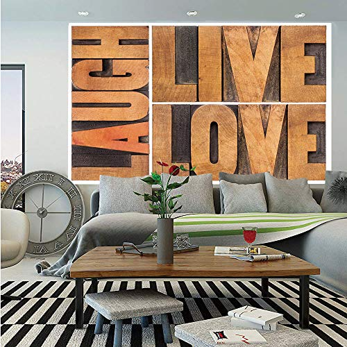 Live Laugh Love Decor Huge Photo Wall Mural,Macro Calligraphy Life Message Inspirational Digital Graphic Decorative,Self-adhesive Large Wallpaper for Home Decor 108x152 inches,Light Caramel Umber