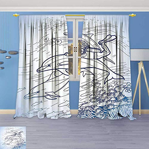 (Philiphome Room Darkening Curtains,Decor Sketch of Scuba Diver Holding Fin of Dolphin Over Coral Reefs Fish,Print Blackout Drapes for Living Room Window Treatment Panels)