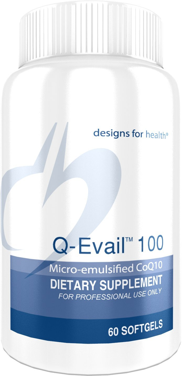 Designs for Health Q-Evail 100 - CoQ10 Ubiquinone 100 Milligram Softgels, Natural Coenzyme Q10 with MCT + Mixed Tocopherols (60 Softgels)
