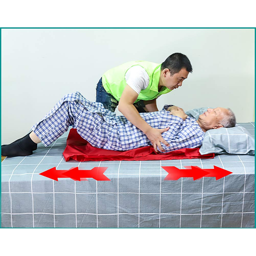 HNYG Reusable Flat Slide Sheet for Patient Transfer, Turning, and Repositioning in Beds, Hospitals and Home Care, Sliding Draw Sheets to Assist Moving Elderly and Disabled (Red, 90X70 cm) by HNYG