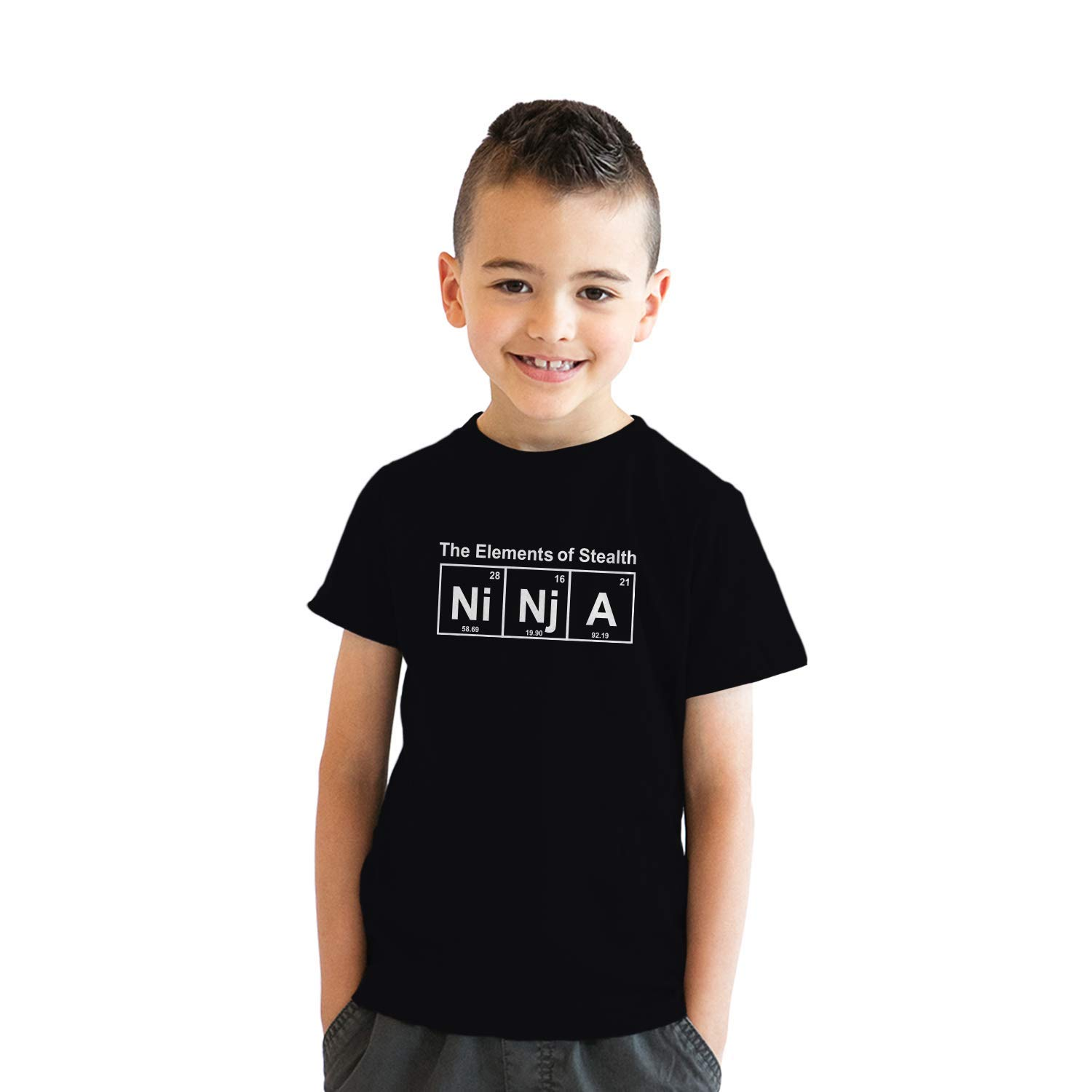 Youth Ninja Element of Stealth T Shirt Funny Science Warrior Kids Nerdy Tee (Black) - M by Crazy Dog T-Shirts