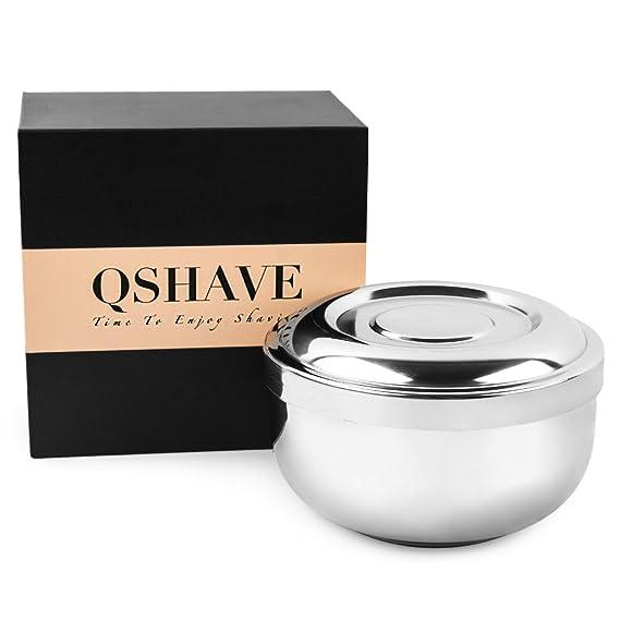 QSHAVE Cuenco para espuma de afeitar de acero inoxidable con tapa, 10 cm de diámetro, profundo, chapado en cromo, 1 unidad