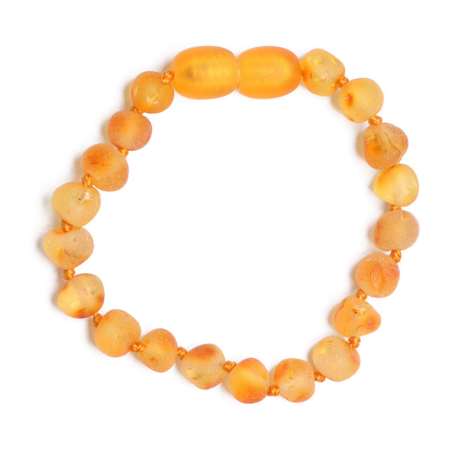Genuine Amber - Baby Unisex Teething Anklet / Bracelet - 5.9 Inches - Raw Not Polished 100% Natural Baltic Amber Beads - Knotted Between Beads - With Plastic Screw Clasp - Honey
