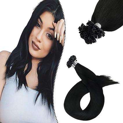 Ugeat Extensiones de Cabello Natural #1 Negro Azabache U Tip 14Pulgada/35cm 100gramo Brasileno Remy Hair Extensions