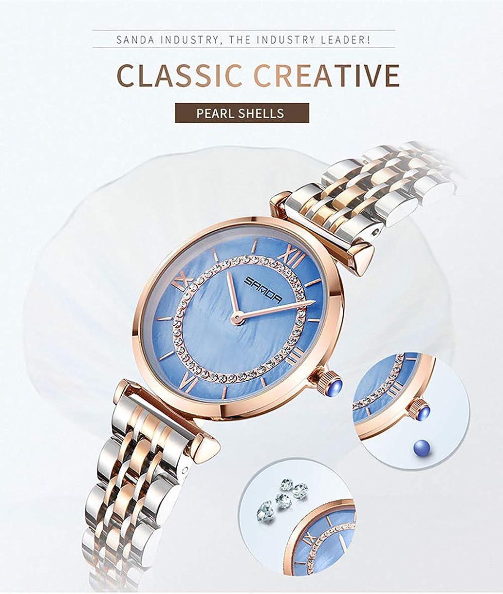 Orologio da donna con inserto in diamante Orologio da donna Cintura in acciaio impermeabile Orologio da ragazza Blu