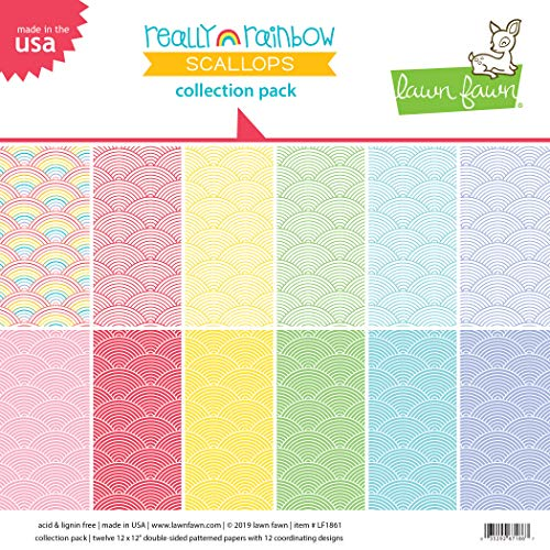 (Lawn Fawn Paper Collection Pack - Really Rainbow Scallops LF1861)