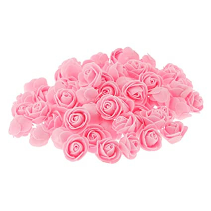 Lot De 100 Tete De Rose Plastique Artificielle Fleur Corolle
