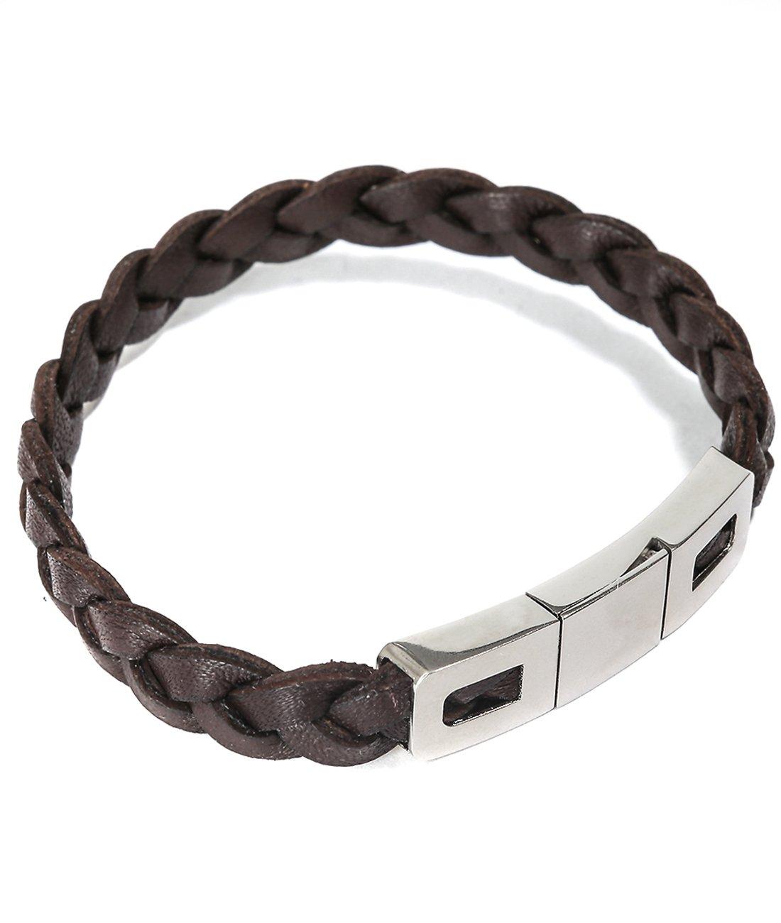 Mon Art Women's Braided Bracelet with Metal Clip Closure XS Dark Brown