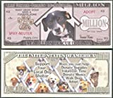 ONE Million Rescue / Shelter DOG Million Dollar Novelty Bill - Lot of 2 Bills