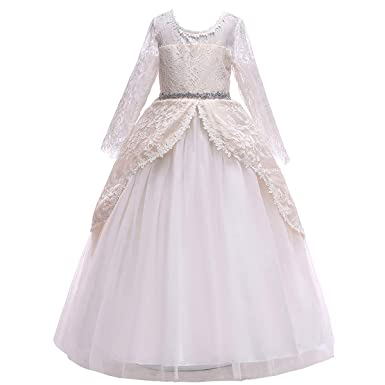 eadc087c74e9 Girls Long Sleeve Tulle Lace Royal Retro Medieval Renaissance Dress Kid  Princess Pageant Embroidery Flower Long