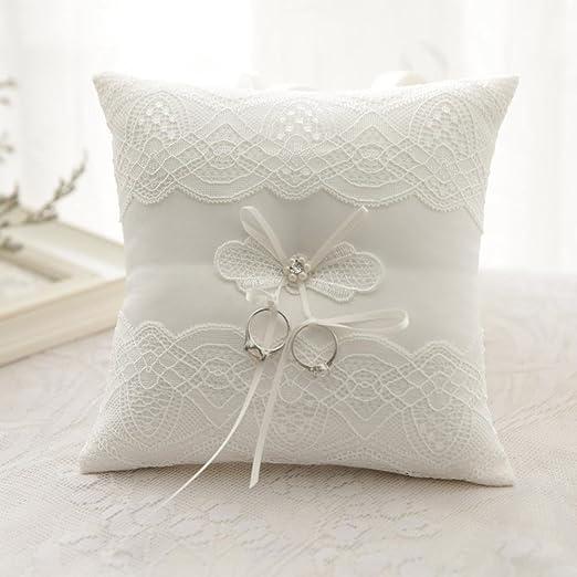 Boda decoración Silks y satins bordado boda anillo almohada ...