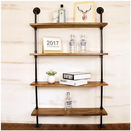 bandeja de almacenamiento Estante de pared de madera maciza con estantes metálicos de tuberías de agua