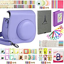 Fujifilm Instax Mini 8 Instant Camera Accessory Bundles Set(Mini 8 case bag/Book Album/ close-up lens/colorful decor sticker borders/wall decor hanging frame/DIY Photo Album/ Ink Card Making Pens/ Creative Craft Scissors/Corner stickers)(set1 Purple)
