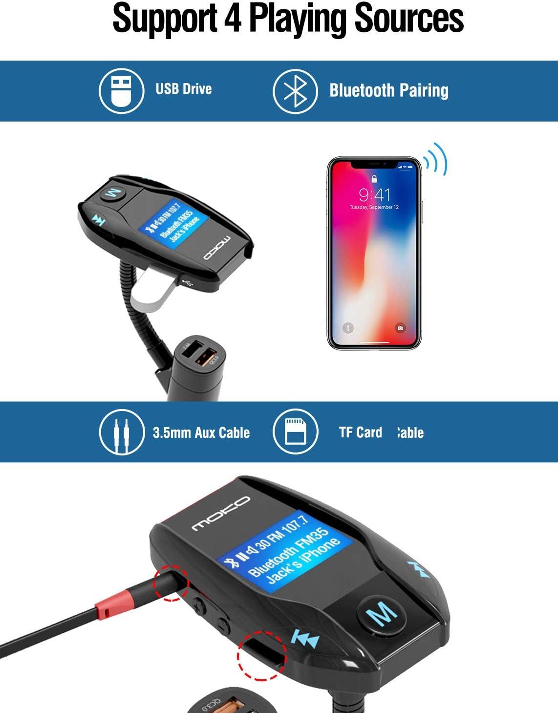 MoKo kit Bluetooth per auto adattatore radio ricevitore audio vivavoce per auto e supporto per ingresso//uscita AUX 3,7 cm display Bluetooth trasmettitore FM con porta Quick Charge 3.0 nero