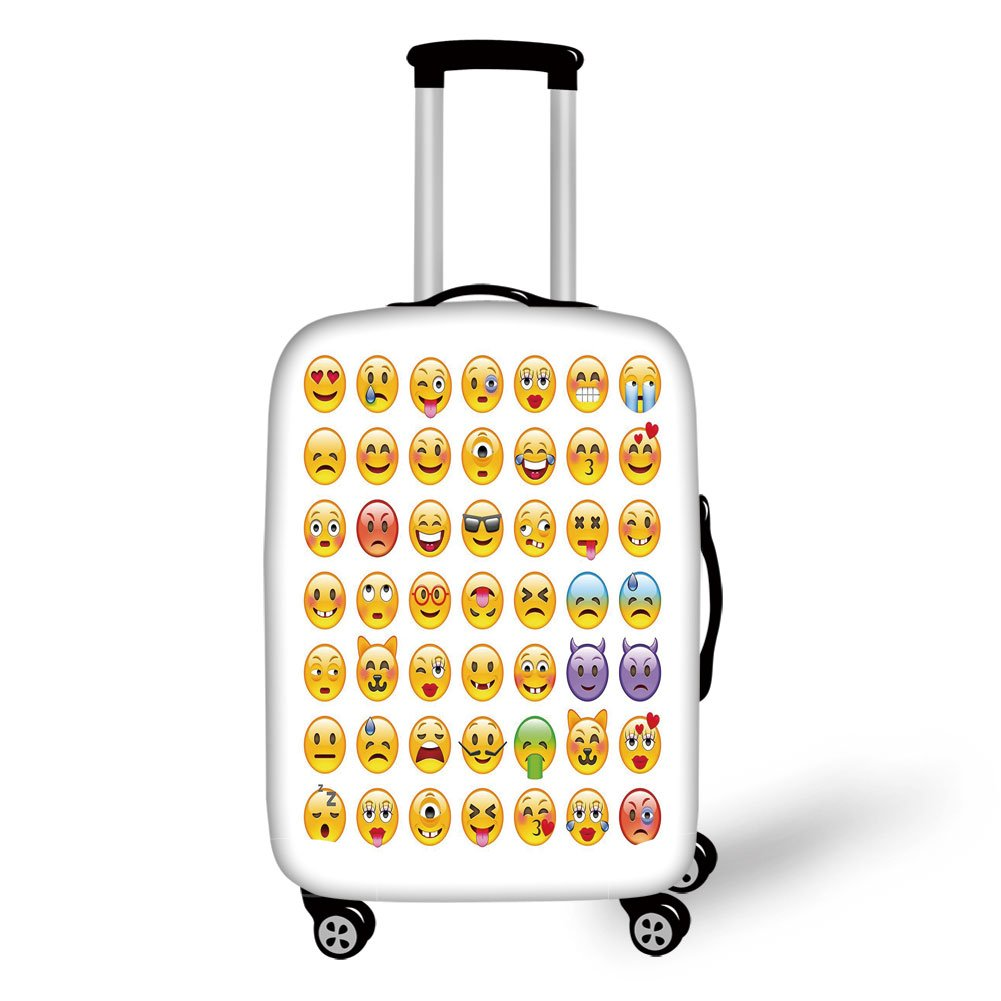 Travel Luggage Cover Suitcase Protector,Emoji,Set of Emoticons with Various Expressions Alien Vomiting Beaten Up in Love Vampire Decorative,Multicolor,for Travel