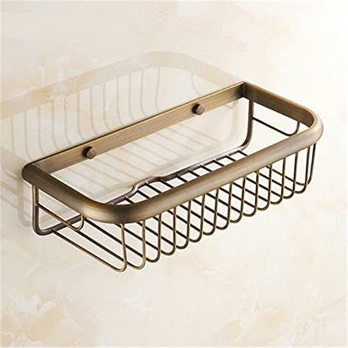 Dream Cloud Bathroom Accessories Square Shower Basket Wall Mount Corner Shower Shelf Brass Material, Antique