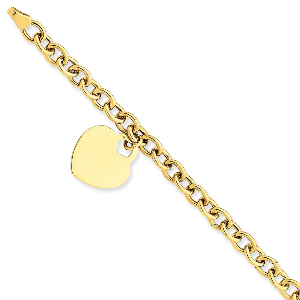14k Yellow Gold Heart Charm Bracelet 7.25 Inch W/charm/love Fine Jewelry Gifts For Women For Her