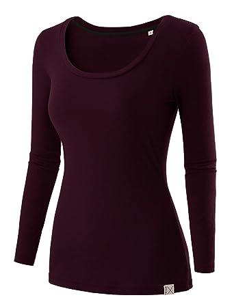 3432af202a Regna X Women s Crewneck Long Sleeve Soft   Stretch Cotton Blend Top ...