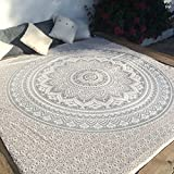 Indian Traditional Mandala Hippie Wall Hanging, Cotton Tapestry Ombre Bohemian Bedspread (Queen(84x90 Inches)(215x230 Cm), Grey/Silver)