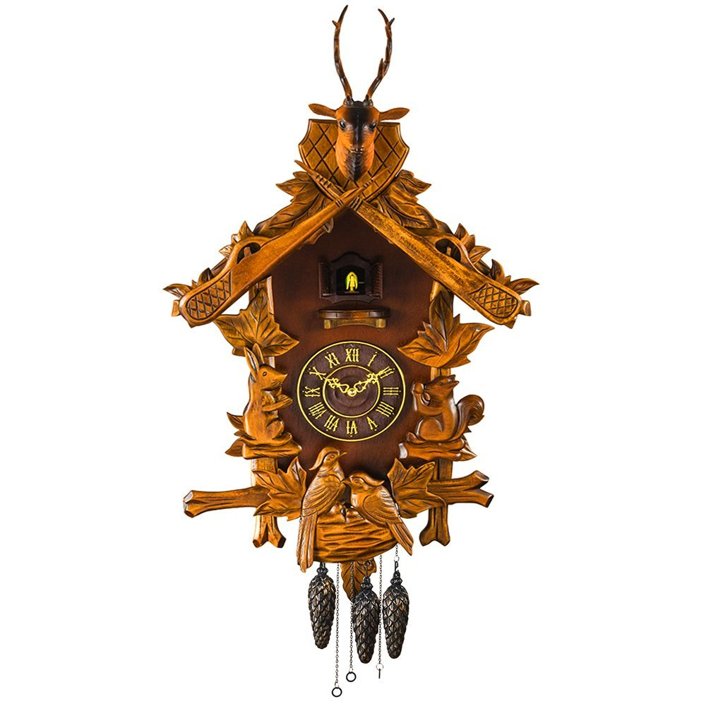 Kintrot Large Cuckoo Clock Black Forest Handcrafted Hunter Carved-Style Wooden Wall Clock 74 CM Height