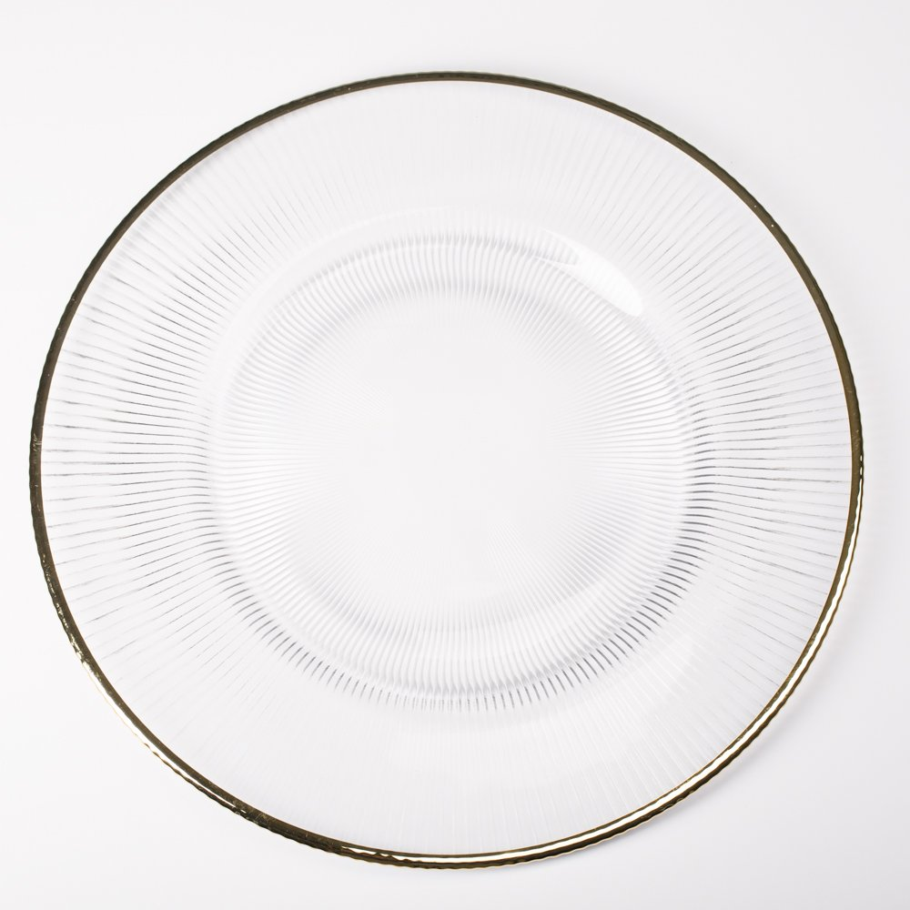 Richland 13'' Gold Rim Glass Charger Plate Set of 48 by Richland (Image #1)