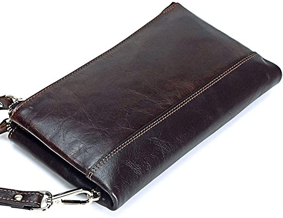 Long Section Simple Slim Zipper Clutch Brown GAOPENG Ultra-Thin Leather Mens Wallet Suitable for Business Casual Men.