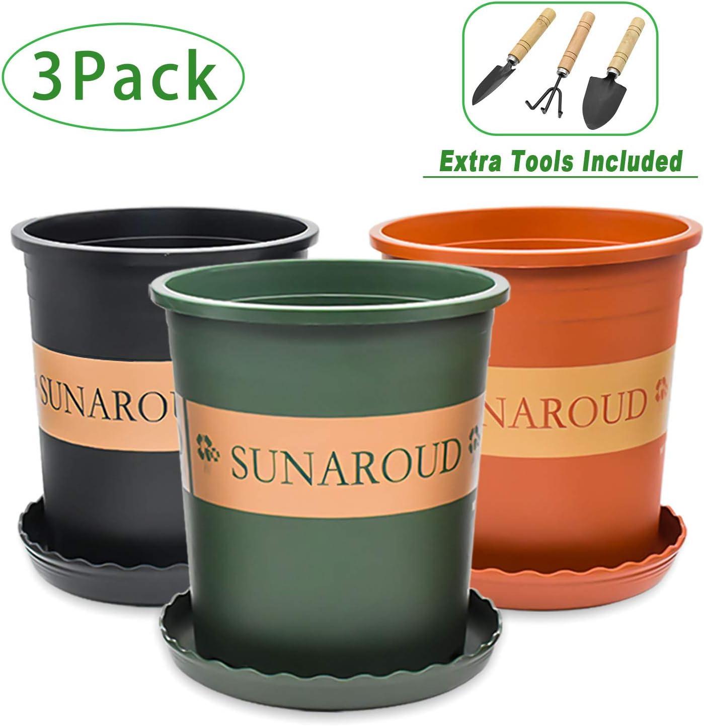"Planter Nursery Garden Flower Pots (1 Gallon, 6.7"" Diameter) with Small Shovel Rake Spade,Plastic Plants Pots with Drainage,Set of 3(Terracotta Green Black)"