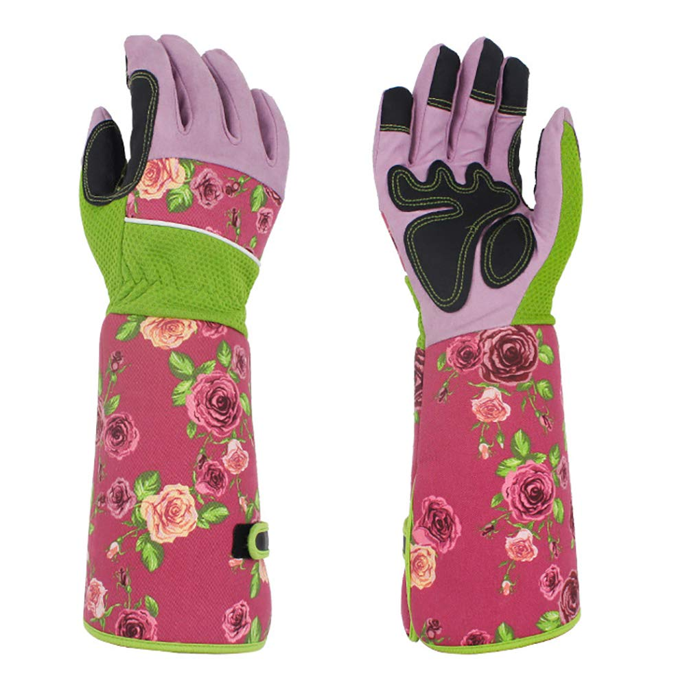 Professional Gardening Gloves Women, Long Rose Pruning Gloves, Pink Thorn Proof Garden Gloves with Long Canvas Sleeves for Flower Planting, Pruning YLST12