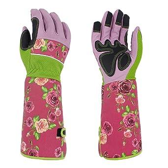 Guantes de jardinería de cuero resistente largo guantelete rosa poda guantes a prueba de espinas jardín guantes de trabajo para hombres mujeres jardinero ST10, 15x6Inc(37CMx15CM), rosa, 1: Amazon.es: Industria, empresas y ciencia