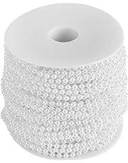 FTVOGUE - Cadena de Perlas Artificiales Decorativas de Perlas de imitación para Boda, 40 m, Rollo de 4 mm